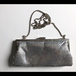 Vintage La Regale Silver Sequin Crossbody Clutch